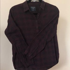 Abercrombie & Fitch Burgundy Plaid Shirt